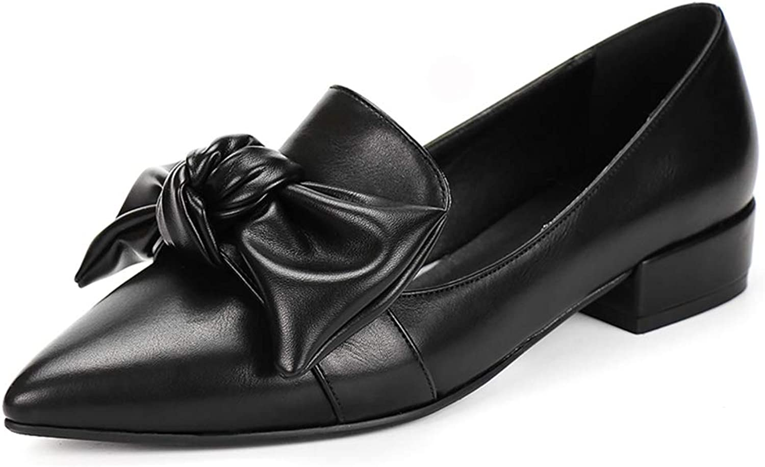 SaraIris Women's Faux Leather Comfortable Flat Heel Cute Bowknot Slip on Loafer shoes