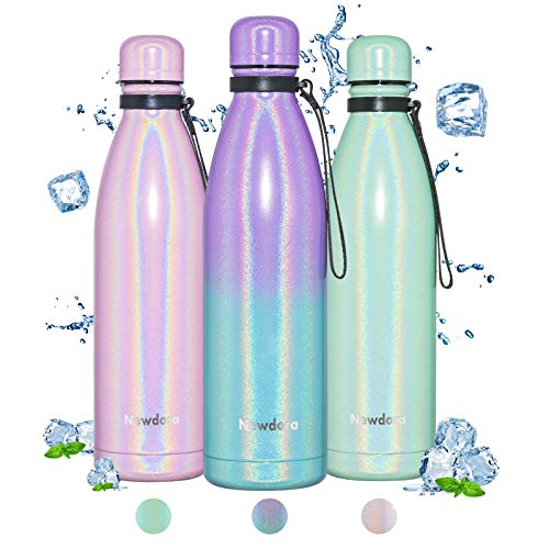Newdora Botella de Agua Deportiva de Acero Inoxidable, Botella Termica con Doble Aislamiento para 12 Horas de Bebida Caliente y 24 Horas de Bebida Fría, Botella, 750ML, Gradiente Verde púrpura