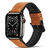 Bisikor per Cinturino Apple Watch 42mm 44mm Cinturino di Ricambio Ibrido in Pelle e Silicone Compatibile con Apple Watch Series 6/5/4/SE (44mm) Series 3/2/1 (42mm) - Marrone Scu