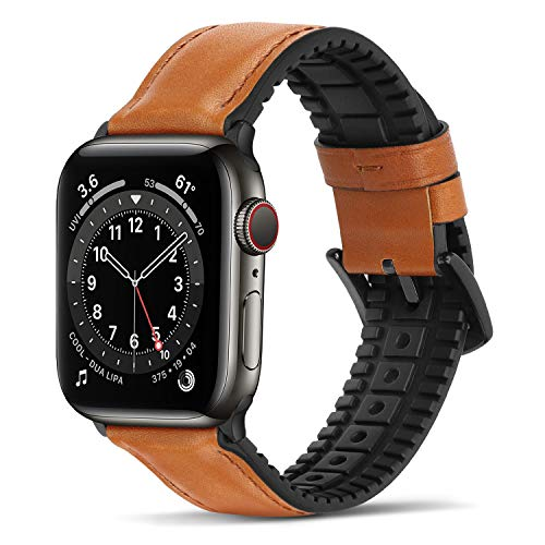 Bisikor para Correa Apple Watch 42mm 44mm Cuero y Silicona Híbrido Correa de Repuesto Compatible con Apple Watch Series 6/5/4/SE (44mm) Serie 3/2/1 (42mm) - Marrón Oscuro