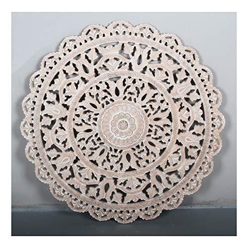 Casa Moro Orientalisches Wandbild Mandala Hessa Ø 90 cm im Shabby Chic weiß braun rund handgeschnitzte Wand-Dekoration zum Hängen & Stellen | Kunsthandwerk | MD2110