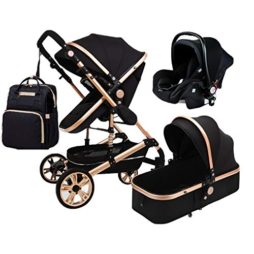 TXTC 3 in 1 Foldable Stroller Carriage Luxury Baby Stroller Shock Absorption Springs High View Pram Baby Stroller with Baby Basket and Mommy Bag Backpack (Color : Black)