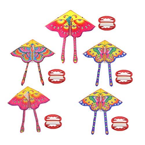 LIOOBO 5 Sets Schmetterlings-Drachen Drachen Interessant Cartoon Dreieck Drachen Kinder Spielzeug Lenkrad mit 50 m Kordel für Laufstall Hügel Rasen Strand