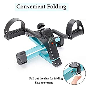Folding Pedal Exerciser,Under Desk Bike Arm and Leg Exercise Peddler Machine with LCD Display