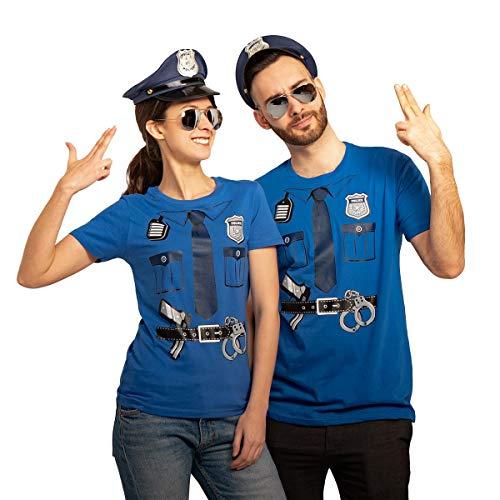 Polizei Paar Kostüm mit T-Shirts Polizeimützen und Brillen Karneval & Fasching Mann Blau XXXX-Large/Frau Blau XX-Large
