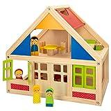 WOOMAX - Casitas de muñecas de madera con muebles, WOOMAX, con 2 muñecos, 39,5x24,5x37x5 cm, 2 plantas, casita madera muñecas, muebles madera casa muñecas, +3 años (46477)