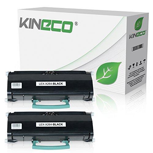 Kineco 2 Toner kompatibel für Lexmark X264DN, X363DN, X364DN, X364DW - X264H21G - Schwarz je 9.000 Seiten