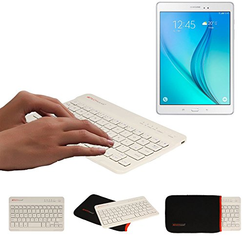 TECHGEAR [Active Strike (S) Slim Line Bluetooth Wireless UK Qwerty Keyboard With Carry Case for Samsung Tab S6 Lite 10.4, Tab A 10.5, Tab S6 10.5, Tab A 10.1 2019, Tab S5e, Tab S4 S3 S2 etc. - White