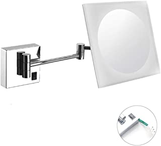 Makeup Mirror, Acrylic Wall Mounted Mirrors Makeup Shaving Mirror LED Lighted Bathroom Mirror Conceal Install with Adjustable Extendable Square 8inch 3X Magnification Surface Chrome Finish