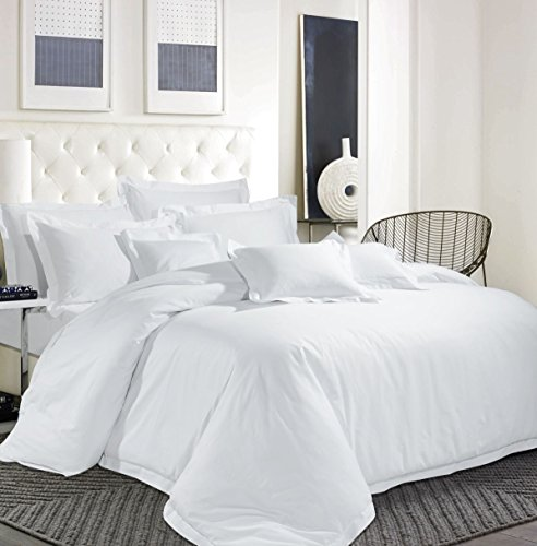 Sapphire Collection Egyptian Cotton 600 ''TC Hotel White Bedding Set Duvet Cover Solid (Double)