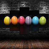 TOPRUN Stampe E Quadri su Tela Moderni Soggiorno 150x80cm Uova di Pasqua Colorate Astratte 5 Pezzi Stampa su Tela XXL Immagini Murale da Parete Poster HD Modulari Decorazioni per La Casa