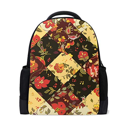 Mochila Mochila Mochila Cuadros Patchwork Flor Impermeable para Viajes Medios Niñas Niños