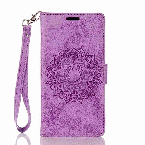 pinlu Funda para Huawei P8 Lite (2017) / P9 Lite (2017) Función de Plegado Flip Wallet Case Cover Carcasa Piel PU Billetera Soporte con Flores De Datura Púrpura