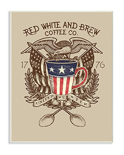 Stupell Industries Red White and Brew Coffee Co Wall Plaque, 10 x 15, Multi-Color