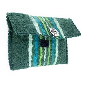 feelz – Filztäschchen grün oder rot mit Streifen und Knopf, Täschchen aus Filz, kleiner Geldbeutel – Fairtrade