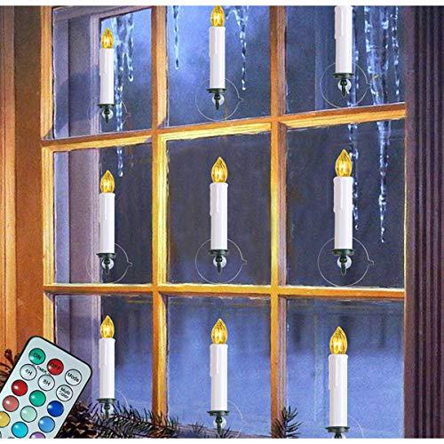 10 velas de ventana funcionan con pilas con control remoto temporizador, 12 colores LED sin llama, velas cónicas para ventanas de Navidad, luces parpadeantes, decoraciones