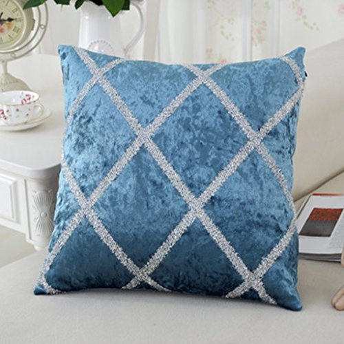 ZUOANCHEN Coussin Retro Fashion Flocage Tissu Canapé Lit Home Decor Taie d'oreiller Retour Coussin Contient Un Coussin Noyau Noir, Bleu, Gris 43 * 43 CM (Couleur : Bleu)