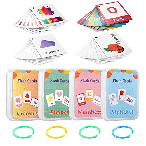 Leikance Lernkarten für Kinder, Zahlen, Alphabet, Farben und Formen, 100 Karten mit 200 Bildern, Lernkarteikarten, 4er-Set