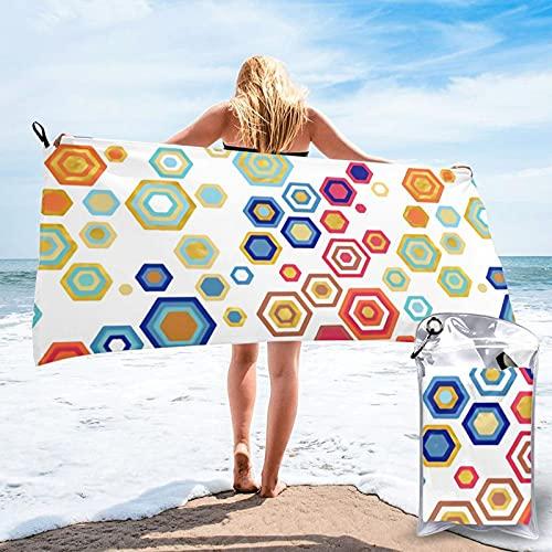 mengmeng Rainbow Hexes Toalla de secado rápido para deportes, gimnasio, viajes, yoga, camping, natación, súper absorbente, compacta, ligera, toalla de playa