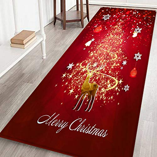 Hankyky Christmas Reindeer, Xmas Tree,Stocks Floor Runner Area Rugs Non-Slip Floor Mat Doormats Living Room Bedroom