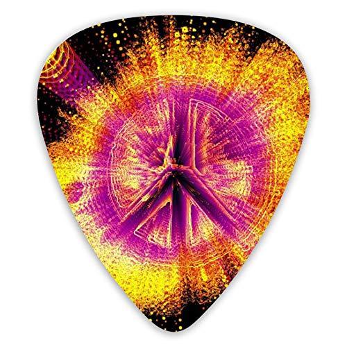 Púas de guitarra de signos de paz, púas de guitarra de 12 piezas para guitarra eléctrica y bajo, diferentes tamaños contienen fino, medio, grueso