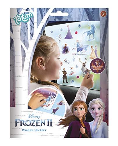 Totum 680739 Frozen II Fenstersticker mit über 70 statischen Aufklebern und einer Landschaftsszene von Anna & Elsa