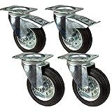4 Stück Transportrollen im Set 160 mm, Rollen mit Bremse der Marke HRB, Schwerlastrollen mit max. 540 Kg Gesamttragkraft, geeignet für z.B. Rollen für Palettenmöbel (4er Set 160mm)