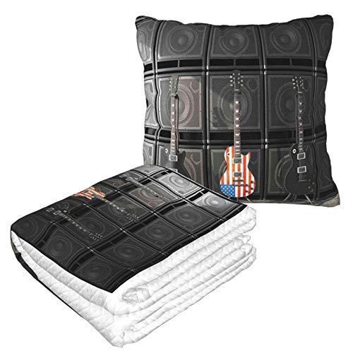 Rock Us Amerikanische Flagge Gitarren Kissen Decke Warme Flanelldecke mit Reißverschluss Premium Weich 2 in 1 Flugzeugdecke gemütlich tragbar Plüsch Überwurf Decken für Sofa Schlafzimmer Auto
