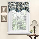 WAVERLY Navarra Floral Pattern Scalloped Window Valance Curtains, 52' W x 16' L, Porcelain
