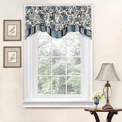 "WAVERLY Navarra Floral Pattern Scalloped Window Valance Curtains, 52"" W x 16"" L , Porcelain"