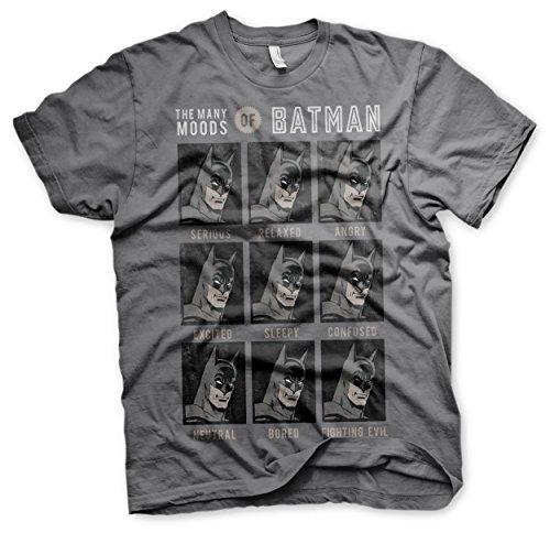 Batman Licenza Ufficiale The Many Moods of Maglietta da Uomo (Grigio Scuro), Large