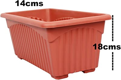 Easy Gardening Royal 2 Rectangle Pots and Trays-Terracotta Color Planter(Pack of 6)