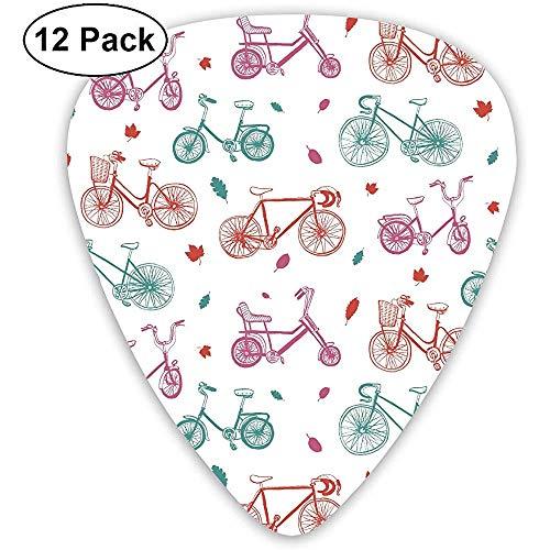 Cartoon Fahrrad Muster Plektren Akustikgitarre Ukulele Plektren 12er Pack