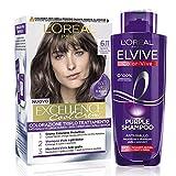 L'Oréal Paris Cofanetto Colorazione Color&Care Cool, Include 1 Tinta Capelli Excellence Cool Crème e 1 Shampoo Antigiallo Elvive Purple, Biondo Scuro Ultra Freddo (6.11)
