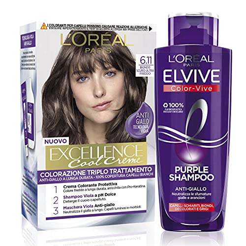 L'Oréal Paris Cofanetto Colorazione Color&Care Cool, Include 1 Tinta Capelli Excellence Cool Crème...