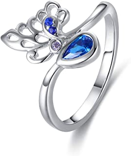 GW Women Silver Ring 925 Sterling Silver Rings for Women Blue Zirconia in Size 5/6/7/8 Wedding Engagement Ring