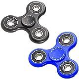 PEARL Konzentrationsspielzeug: 2er-Set Hand-Spinner mit ABEC-7-Kugellager, je 1x blau & schwarz, 52 g (Finger-Spinner)