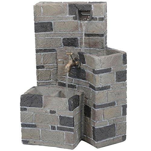 Sunnydaze 3-Tier Brickwork Outdoor Waterfall Fountain with Spigot, Cascading Garden and Patio Water Feature, 23 Inch Tall