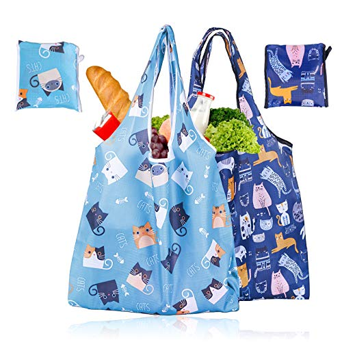 Grocery Shopping BagsResuable Grocery Bags Foldable Tote Bags for Heavy Duty Washable Ripstop Oxford Cloth Groceries Bags Lightweight Ecofriendly Shopping Bag Durable and Sturdy Cute Kitty 2pcs