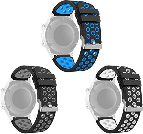 kytuwy Galaxy Watch 46mm / Gear S3 Armband, 22mm Ersatz Uhrenarmband Ersatzarmband silikon Sport Armband kompatibel für Gear S3 Frontier Classic Smart Watch (3 Pack)
