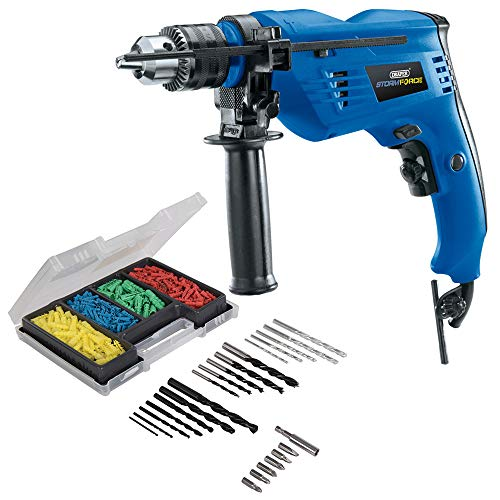 Draper 500W Variable Speed Electric Hammer Drill Plus 300 Piece Drill Bit and Wall Plug Set