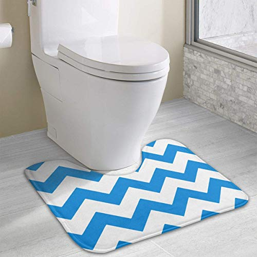 IMERIOi Marineblau Sea Wave gestreifte nautische Toilette Teppich Fußmatte rutschfeste stilvolle Outdoor Indoor Home Badezimmer U-förmigen Boden Teppichbezug