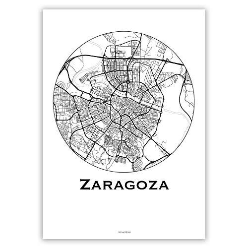 Cartel Zaragoza España Minimalista Mapa - City Map, decoración, regalo