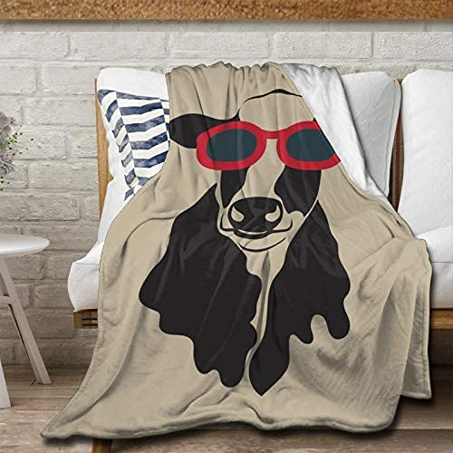 Manta de franela vintage con gafas, manta suave, cálida y esponjosa, microfibra ligera para cama, sofá, silla, sala de estar, 150 x 100 cm para niños