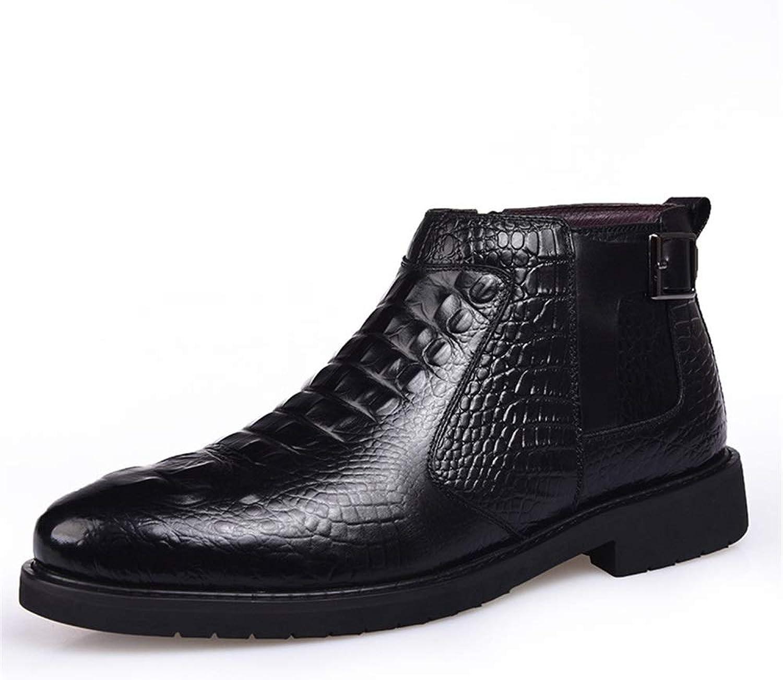 ZHRUI Bottes Chelsea avec Motif en Crocodile pour Hommes Bottes Confortables antidérapantes durables (Couleuré   Noir, Taille   EU 39)