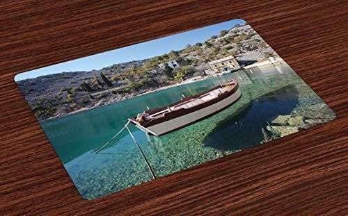 ABAKUHAUS Kroatië Placemat Set van 4, Rustige Scène Boot op Bay, Wasbare Stoffen Placemat voor Eettafel, Veelkleurig