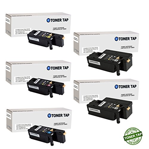 Toner Tap Compatible Toner Cartridge 5 Pack Set for Xerox Phaser 6022NI Wireless Color Photo Printer, for Xerox WorkCentre 6027NI Wireless Color Photo Printer with Scanner, Copier and Fax