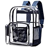 Clear Backpack, Cambond Large School Backpack with Reinforced Straps Heavy Duty PVC Transparent See Through Backpack for College (Blue)