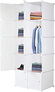 Armoire Penderie Portable, Armoire Étagère de Rangement 10 Cubes, avec Tige Suspendue et Portes, pour Vêtements Chaussures...