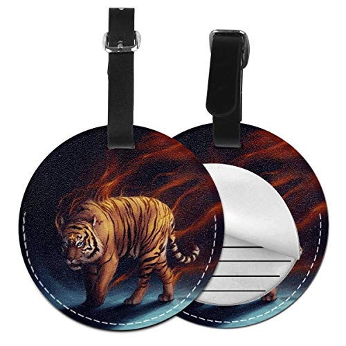 Luggage Tag PU Leather Bag Tag Travel Suitcases ID Identifier Baggage Label Fancy Tiger Fire Magic Animal